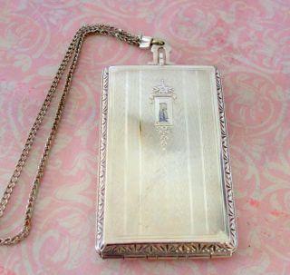 Vintage Evans Nickel Silver Ladies Compact Mirror Coin Holder 553