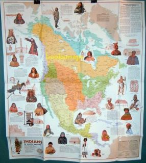 Native American Indians of North America Map 1972 Cultures Tribes