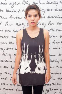 Ray Handcuff Skull Rock Pop Art Indie Women T Shirt Dress Tank Top