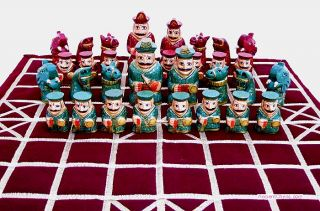 Large Indian Chess Set with Animal Heads Hand Painted