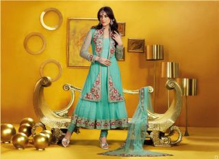 Indian Bollywood Bridal Gherdar Sea Green Anarkali with Full Length