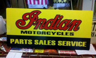Indian Motorcycles Parts Sales Service Sign Vintage