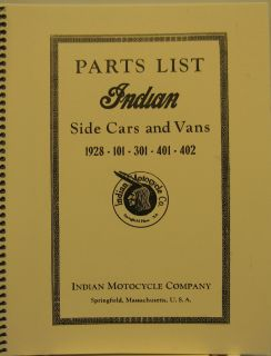 1928 Indian Motorcycle Parts List Side Cars Vans 1928 101 301 401 402