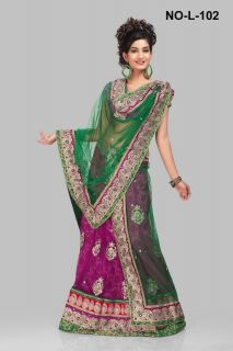 Indian Bollywood Designer Latest Wedding Wear Net Lehenga Saree EHS