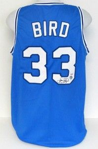 Larry Bird Autographed Indiana State Sycamores Blue Jersey PSA Bird