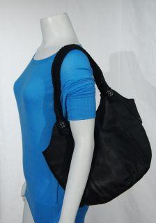 The Sak Indio Tote Black Pebbled Leather Hobo Hand Bag Braided Strap