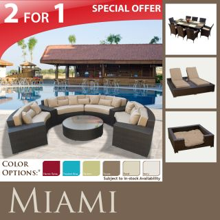 Outdoor Sofa Furniture Dining 9pc New Lounge Chaise Dog Bed LRG