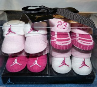 NIKE AIR JORDAN baby girl booties 4 pair gift set pink white jumpman