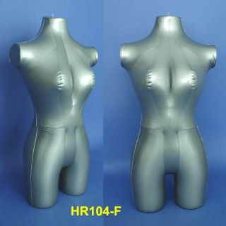 Silver Female Inflatable 3 4 Torso Mannequin HR104 F