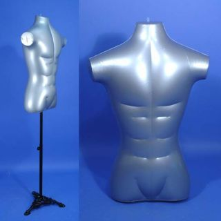 New HR 096M Silver Male Inflatable Torso Form Mannequin