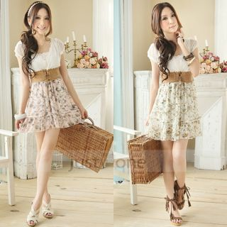 Sweet Lady Women Short Sleeve Low Cut Lace Chiffon Summer Floral Dress