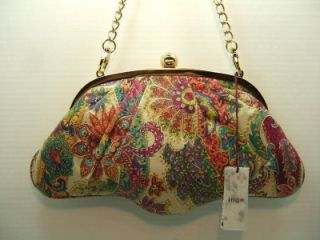 Inge Paisley Print Hand Painted Italian Leather Party Bag Purse Bone