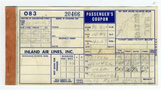 Inland Airlines Passengers Coupon 1949 Western Airlines Ticket