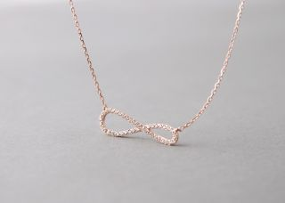 SIGNITY DIAMONDS ROSE GOLD INFINITY NECKLACE PENDANT STERLING SILVER