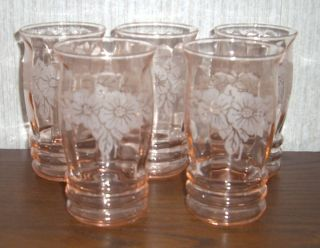 Set Of 5 Pink Floral Etched Tumblers Drinking Glasses Juice Depression