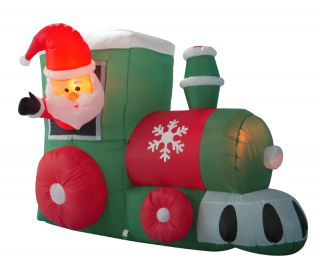 Inflatable Santa on Train Lighted Christmas Yard Art Decoration