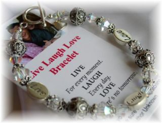 Live Laugh Love Inspirational Bracelet Jewelry Sterling