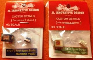 JL INNOVATIVE DESIGN HO SCALE CUSTOM 7UP PEPSI CHESTS IN ORIGINAL