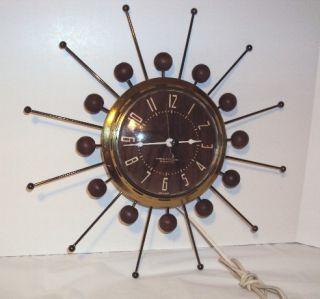 Mid Century Modern Atomic Sunburst Starburst Wall Clock