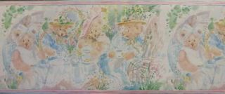 Wallpaper Border Children Tea Party Pastel Kids Room Girls Cute Paint