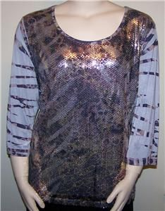 Investments Womens Plus Size 3X 22 24 Gold Silver Sequin 3 4 Sleeve