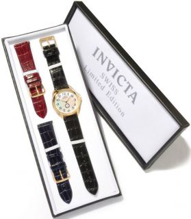 Invicta 0396 Le Slim Quartz MOP Mens Watch w Set of Three Straps