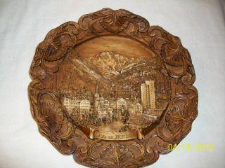 Gruss Aus Interlaken Hand Carved Wooden City Plate Nice