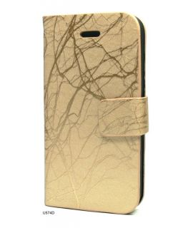 Leather Skin Tri Fold Stand Flip Cover Case iPhone 4 U574D