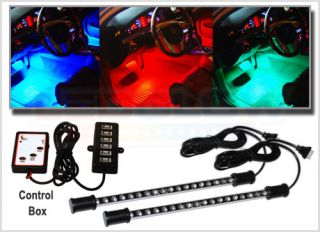 New 2pc 7 Color LED Car Interior Lighting Light Set Kit