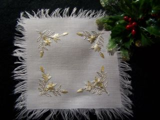Antique Hand Embroidered Society Silk Doily Beautiful Gold Florals