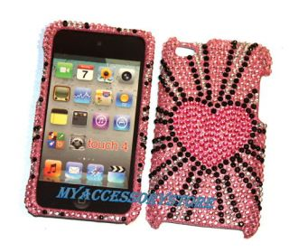 Apple iPod Touch 4 4th Gen Pink Hearts Rhinestones Crystal Bling Case