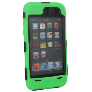Deluex 3 Piece Hard Skin Case Cover for iPod Touch 4G 4th Black Green
