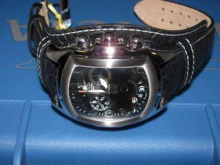 Invicta Mens 11326 Lupah Grand Black Leather Strap Watch Blue 3 Slot