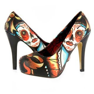 Iron Fist Lucky Lucy Sugar Skull Day of The Dead Platform Heel Vegan