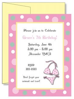 Personalized Girls Swimsuit Pool Party Birthday Party Invitations