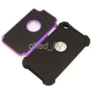 For iPod Touch 4G Back Soft & Hard Rubber Defender Case Cover +Screen