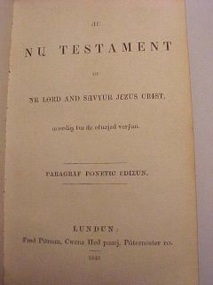 1849 RARE Phonetic New Testament Holy Bible Antique Christian Jesus