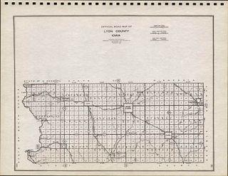 Lyon County Iowa Authentic Vintage Map Rock Rapids Genuine 74 Years