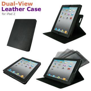 rooCASE Black Dual View Leather Case for iPad 2 / The new iPad 3rd