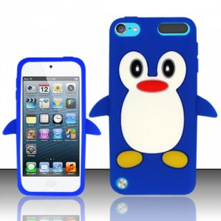 For Apple iPod Touch 5 Funny Penguin Design Silicon Case Blue SCFPNG