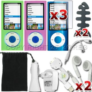 14 Accessory Case Cover Car Charger Screen Protector for Apple iPod
