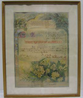 Vintage 1917 Framed Marriage Certificate University Park Iowa 1900s