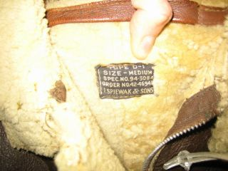 WWII D 1 Jacket I Spiewak and Sons Medium Like B 3 Irvin Shearling