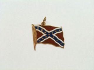 Vintage 14k Gold and Enamel Confederate Flag Bracelet Charm Pendant