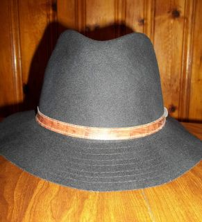Irvine Park Mens Black Crushable Wool Hat Size Medium