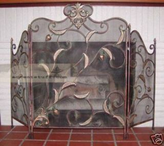 Iron Ornate Leaf Decor Tri Fold Fire Place Screen