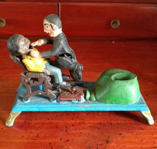 Antique Old Racist Dentist Mechanical Cast Iron Spring Toy Bank
