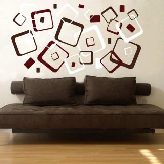 Retro Rounded Squares Vinyl Wall Decal Stickers 3