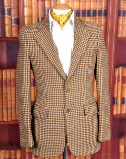 Superb Vtg Irvine Sellars 60s Windowpane Check Tweed Jacket 34