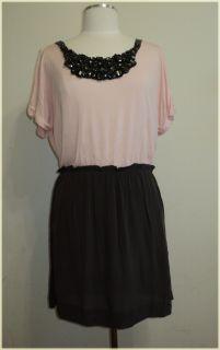 Isabel Lu Contrast Neck Pink Gray Dress Size L